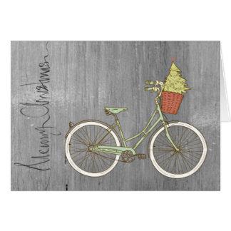 Tarjeta gris simple y dulce de la bici del navidad
