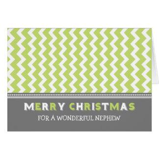 Tarjeta gris verde de las Felices Navidad del sobr