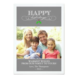 Tarjeta gris y blanca de la foto del día de fiesta invitación 12,7 x 17,8 cm