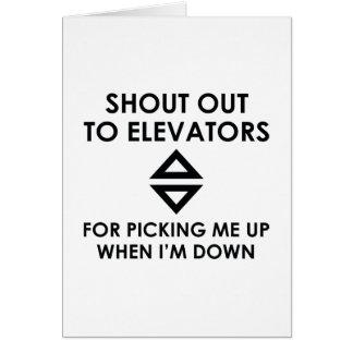 Tarjeta Grite hacia fuera a los elevadores