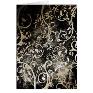 Tarjeta Grunge gótico apenado del damasco que casa RSVP