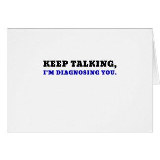 Tarjeta Guarde el hablar de Im que le diagnostica