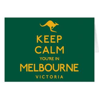Tarjeta ¡Guarde la calma que usted está en Melbourne!