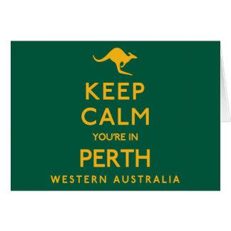 Tarjeta ¡Guarde la calma que usted está en Perth!