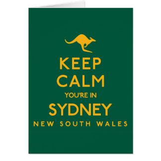 Tarjeta ¡Guarde la calma que usted está en Sydney!