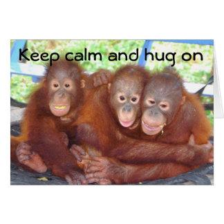 Tarjeta Guarde la calma y abrace encendido