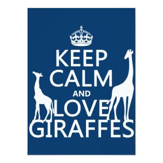 Tarjeta Guarde la calma y ame las jirafas - todos los
