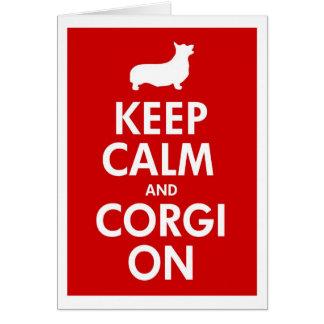 Tarjeta Guarde la calma y el Corgi en Pembroke