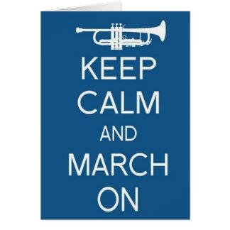 Tarjeta Guarde la calma y marzo encendido