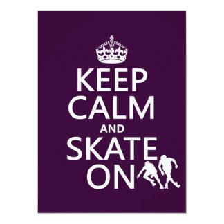 Tarjeta Guarde la calma y patine en (los rollerskaters)