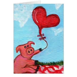 Tarjeta Guarro con el globo en forma de corazón