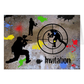 Tarjeta Guerrilla urbana Paintball invitado