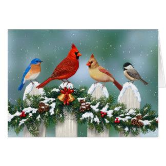 Tarjeta Guirnalda de los pájaros y del navidad del día de
