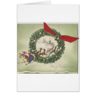 Tarjeta Guirnalda de Santa del navidad del vintage