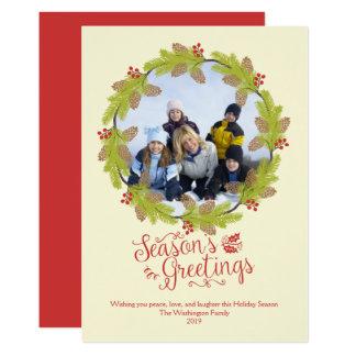 Tarjeta Guirnalda del acebo de la foto del navidad de los