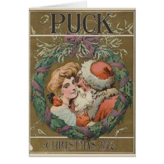 Tarjeta Guirnalda del navidad de Santa del vintage que se