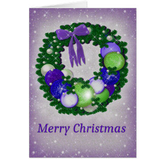 Tarjeta Guirnalda del navidad en púrpura y verde
