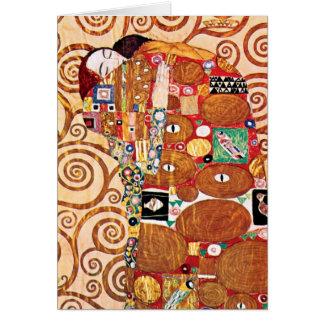 Tarjeta Gustavo Klimt - el abrazo - pintura de la bella
