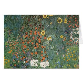 Tarjeta Gustavo Klimt - flores de los girasoles del jardín