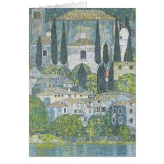 Tarjeta Gustavo Klimt - iglesia en trabajo de arte de