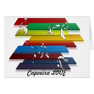 Tarjeta hacha del amor del capoeira de los artes marciales
