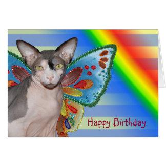 Tarjeta Hada del gato del arco iris del cumpleaños de la