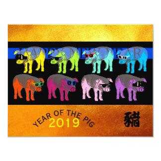 Tarjeta Haga estallar el oro chino Papercut 4.25x5.5 C