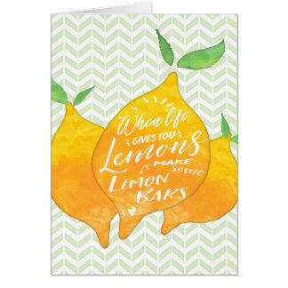 Tarjeta Haga las barras del limón con la parte posterior