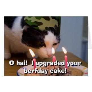 Tarjeta ¡Hai de O!  Aumenté su torta berfday