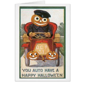 Tarjeta Halloween pasado de moda, conductor de la calabaza
