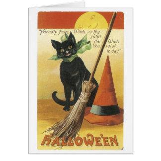 Tarjeta Halloween pasado de moda, gato negro