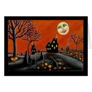 Tarjeta Halloween, saludo, tarjeta, brujas,