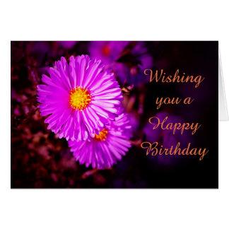 Tarjeta Happy Birthday con asteres pink
