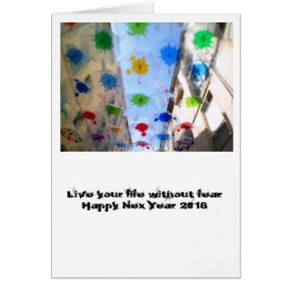 Tarjeta Happy New 2018 card parapluie de Beziers