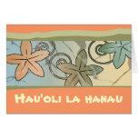 Tarjeta hawaiana anaranjada y amarilla del feliz c