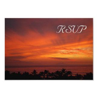 Tarjeta hawaiana ardiente de RSVP de la puesta del Invitación 8,9 X 12,7 Cm