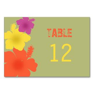 Tarjeta hawaiana colorida de la tabla del boda del