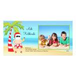 Tarjeta hawaiana de la foto del navidad de Santa d Tarjetas Con Fotos Personalizadas