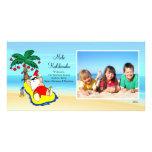 Tarjeta hawaiana de la foto del navidad de Santa d Tarjeta Personal Con Foto