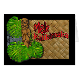 Tarjeta hawaiana de Tiki Lauhala Mele Kalikimaka