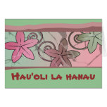 Tarjeta hawaiana del feliz cumpleaños del rosa y d
