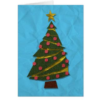 Tarjeta hecha punto del árbol de navidad (azul)