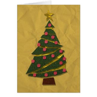Tarjeta hecha punto del árbol de navidad (oro)