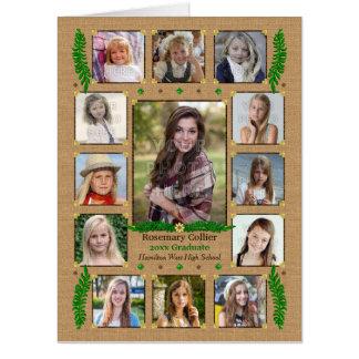 Tarjeta Helecho de la arpillera del collage el   de la