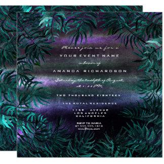 Tarjeta Helecho tropical Omb púrpura acuático verde