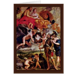 Tarjeta Henry recibe el retrato de Maria De Medici cerca