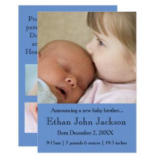 Tarjeta hermana 3x5 que anuncia el azul del nacimiento de