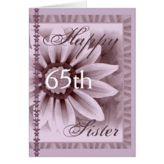 Tarjeta HERMANA - 65.o cumpleaños feliz - margarita de la