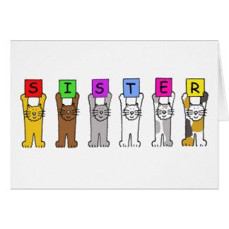 Tarjeta Hermana del feliz cumpleaños con los gatos del