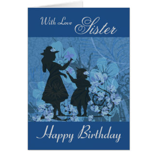 Tarjeta Hermana/feliz cumpleaños - siluetas del jardín